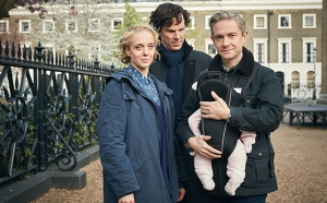Sherlock, Season 4 premieres January 1, 2017 on MASTERPIECE on PBS. Picture shows: Mary Watson (AMANDA ABBINGTON), Sherlock Holmes (BENEDICT CUMBERBATCH) and John Watson (MARTIN FREEMAN)