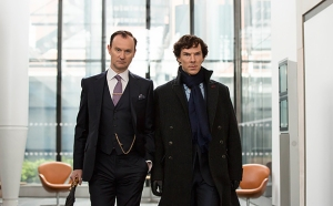 Sherlock, Season 4 premieres January 1, 2017 on MASTERPIECE on PBS. Picture shows: Mycroft Holmes (MARK GATISS) and Sherlock Holmes (BENEDICT CUMBERBATCH)